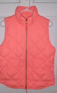 JCREW Neon Coral/Orange Down Vest Small
